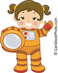 Astronaut Girl - Illustration of a Young Girl Wearing a...