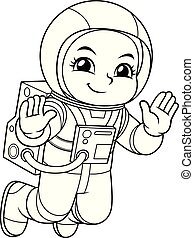 Astronaut Girl Floating In Empty Space BW