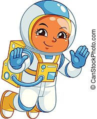Astronaut Girl Floating In Empty Space