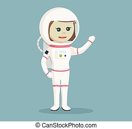 astronaut girl giving greeting