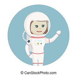 astronaut girl giving greeting in circle background