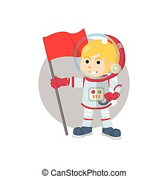 Astronaut girl holding flag