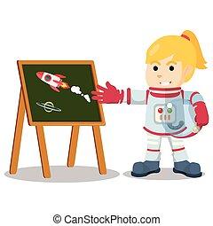 Astronaut girl presenting rocket