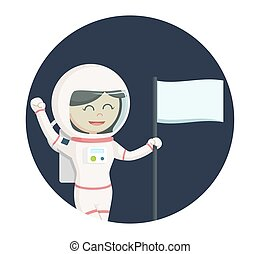 astronaut girl with flag in circle background