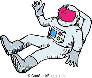 Astronaut hand drawn sketch