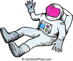 Astronaut hand drawn sketch watercolor vector illustration