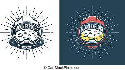 Astronaut helmet and moon - vintage logo