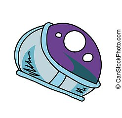 Astronaut helmet cartoon hand drawn image
