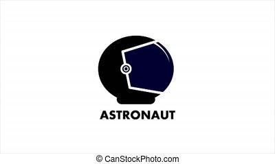 Astronaut helmet logo, art video illustration.
