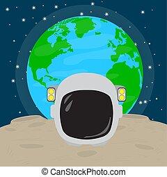 Astronaut helmet on the moon