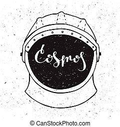 Astronaut helmet with inscription cosmos in the center.
