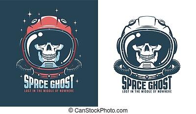 Astronaut helmet with skull - vintage space emblem