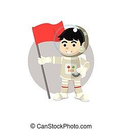 Astronaut holding flag