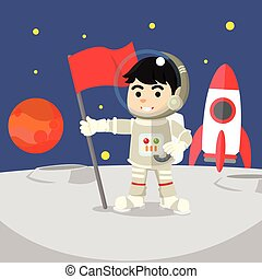 Astronaut holding flag on moon