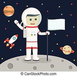 astronaut holding flag vector