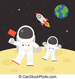 astronaut holding red flag walking on moon surface with flying rocket in space and earth globe background, flat design illustration vector