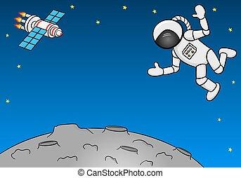astronaut hovering over a barren planet - vector...