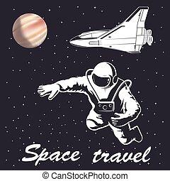 astronaut illustration to space travel vector emblem
