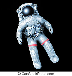 Astronaut on a black background, image with a work path