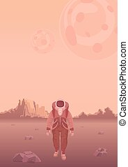 Astronaut in a spacesuit on Mars or another planet. Rocky...
