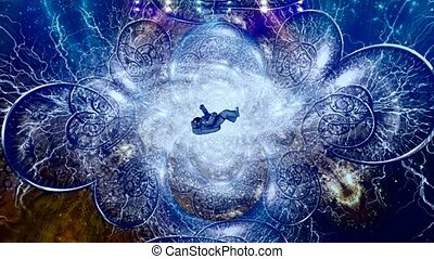 Astronaut in endless spaces. Bright galaxy and time spirals