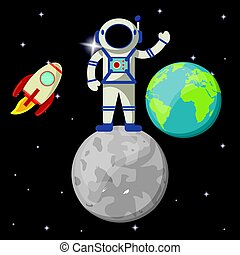 astronaut in moon earth planet rocket vector illustration...