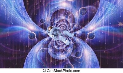 Astronaut in open space. Dimensional fractal
