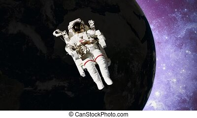 astronaut in open space in front of earth