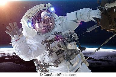 astronaut, in, raum, aus, der, planet, earth., elemente, von, dieser, bild, möbliert, per, nasa