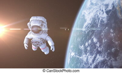 Astronaut in Space. 3d animation 4K