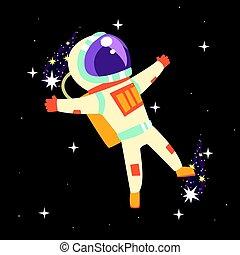Astronaut in space suit at spacewalk
