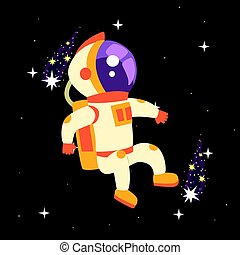 Astronaut in space suit working in deep Space