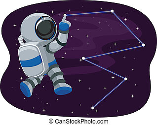 Astronaut in Space tracing Stars - Illustration of Astronaut...