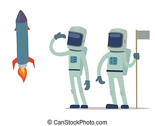 Astronaut in space vector character having fun spaceman galaxy cosmos atmosphere astronautics system fantasy traveler man.