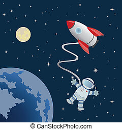 Astronaut in space. Vector for you design
