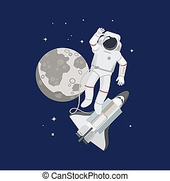 Astronaut in space with moon