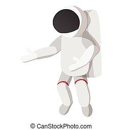 Astronaut in spacesuit cartoon icon