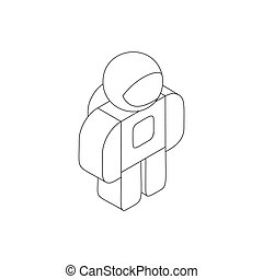 Astronaut in spacesuit icon, isometric 3d style