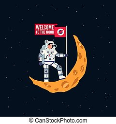 Astronaut in spacesuit is standing on crescent moon with flying flag