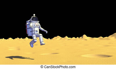 Astronaut in spacesuit on moon jump with low gravity. 3D render looped animation with alpha channel.