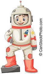 Astronaut in spacesuit on white background