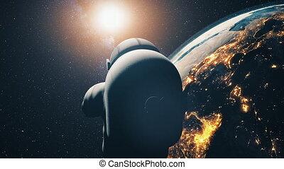 astronaut in spacesuit over illuminated Earth - Astronaut in...