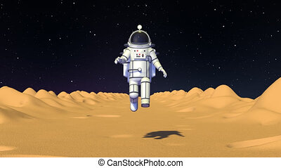 Astronaut in spacesuit run with low gravity on moon surface front view. Spaceman game character. 3D render looped animation.