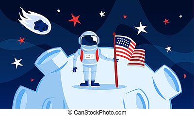 Astronaut in spacesuit standing on the moon