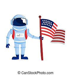 Astronaut in spacesuit standing with a flag