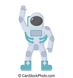 Astronaut in spacesuit waving hand. Vector illustration on a white background.