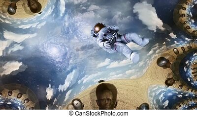 Astronaut in surreal landscape. Different thoughts inside ...