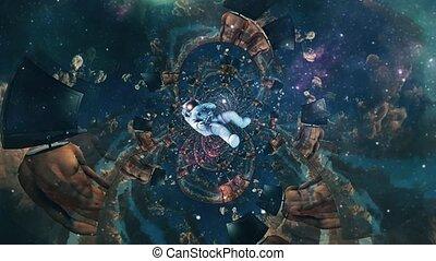 Astronaut in surreal scene. Animated video