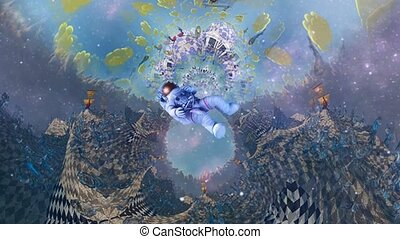 Astronaut in surreal space. Dimensional fractal