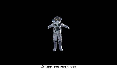 Astronaut in white modern scaphandre go in the space, 3d...